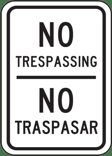 Bilingual No Trespassing Sign