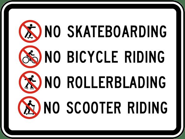 No Skateboarding Rollerblading Sign