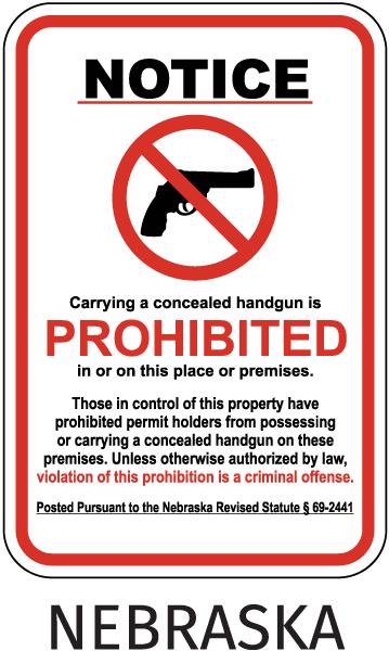 Nebraska Concealed Handgun Sign
