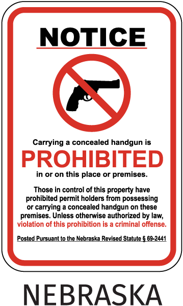 Notice Carrying a concealed handgun is PROHIBITED in or on this place or premises. Those in control of this property have prohibited permit holders.. Sign