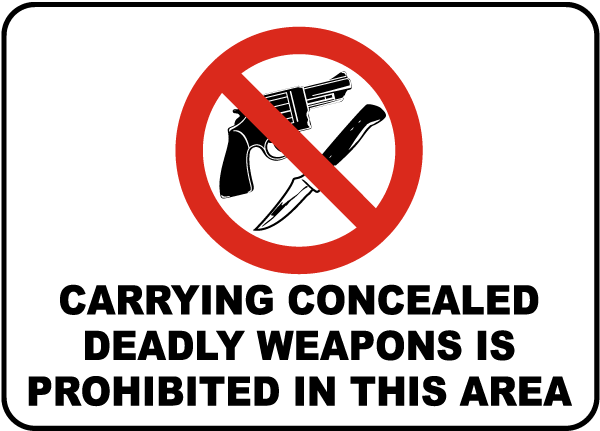 Concealed Weapons Prohibited Sign