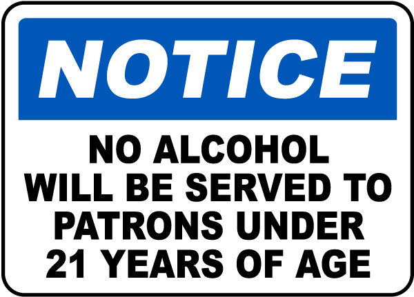 Patrons Under 21 Years of Age Sign