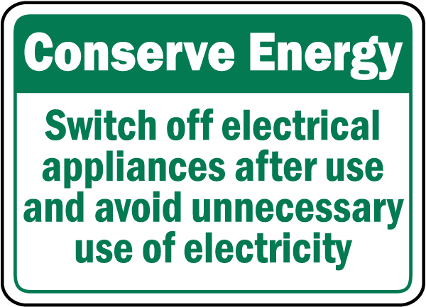 Turn Off Appliances After Use Sign