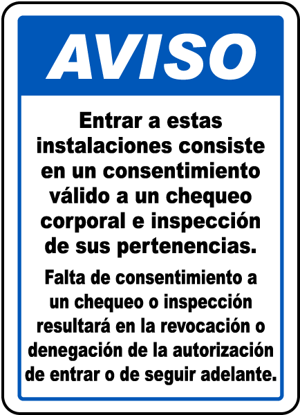 Spanish Valid Consent To Screening Sign