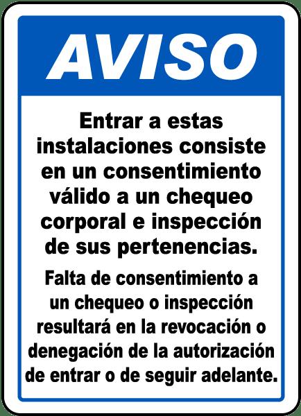 Spanish Valid Consent To Screening Sign