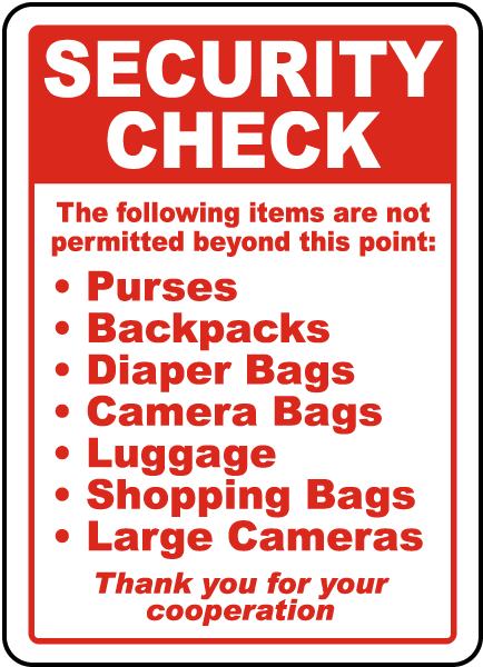 Security Check List Sign