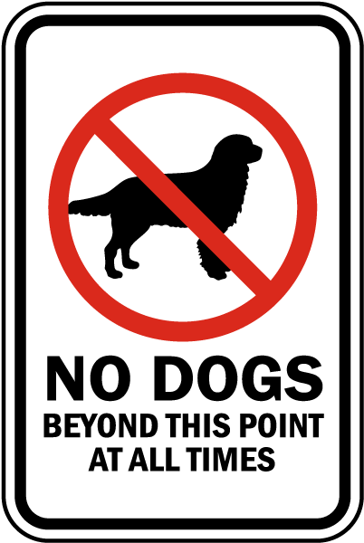 No Dogs Beyond This Point Sign