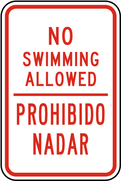 Bilingual No Swimming Allowed Sign