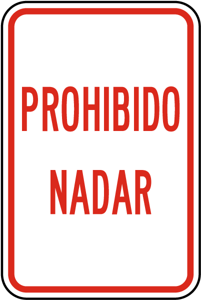 Spanish No Swimming Allowed Sign