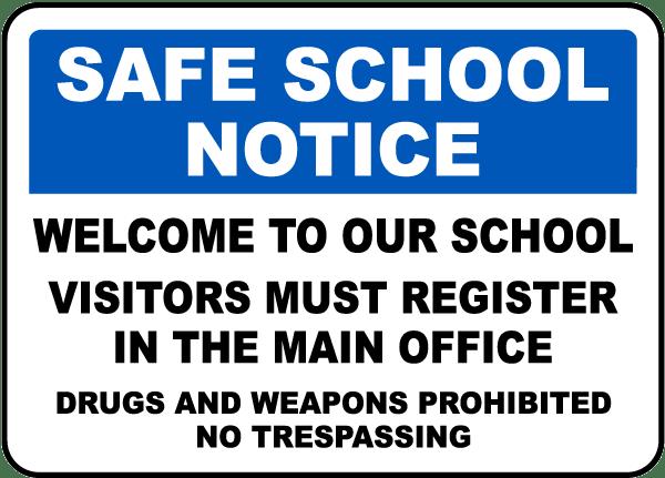 Visitors Register At Main Office Sign