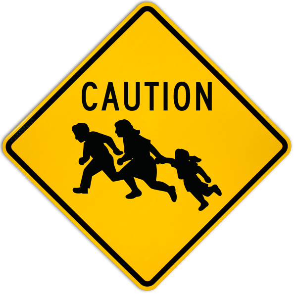 Caution Immigrant Crossing Sign