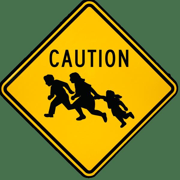 Caution Immigrant Crossing Sign
