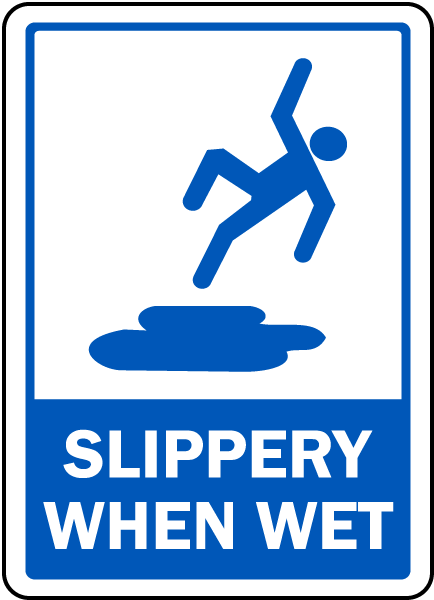 Pool Signs - Slippery When Wet Pool Signs, F7672