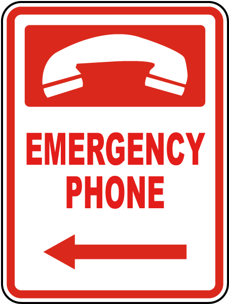Emergency Phone (Left Arrow) Sign