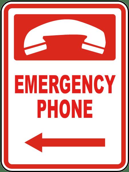 Emergency Phone (Left Arrow) Sign