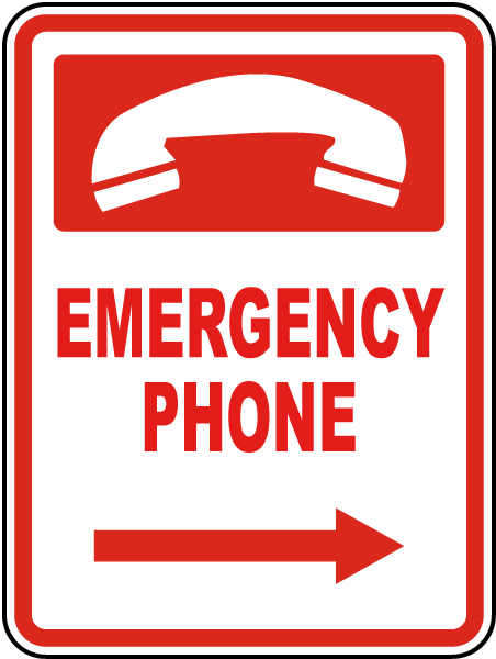 Pool Signs - Emergency Phone w/ right arrow Pool Signs, F7681