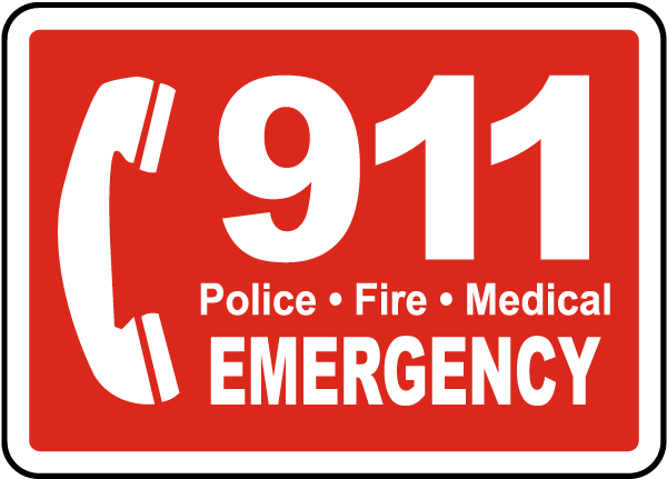 Pool Signs - 911 Police Fire Medical Emergency Pool Signs, F7684