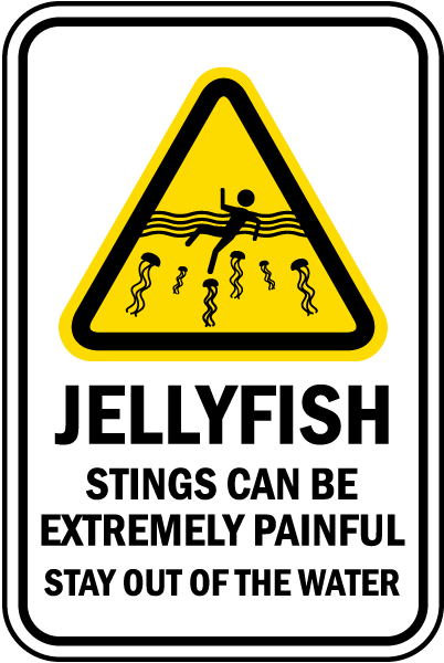 Jellyfish Stings Can Be Extremely Painful Stay Out Of The Water sign