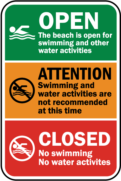 Open The beach is open for swimming and other water activities sign