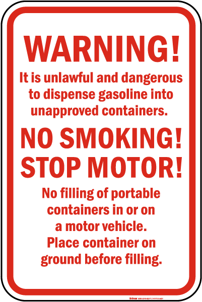 Warning Fueling Rules Sign