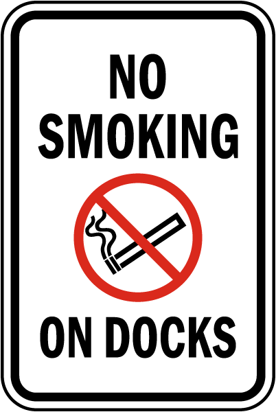 No Smoking on Docks Sign