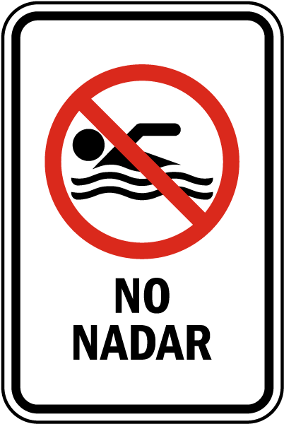 Spanish No Swimming Sign