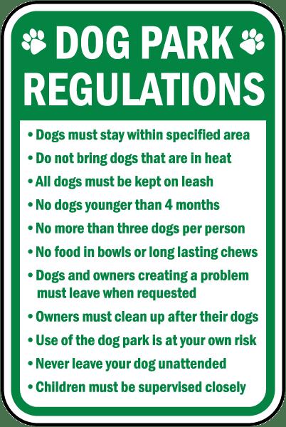 Dog Park Regulations Sign