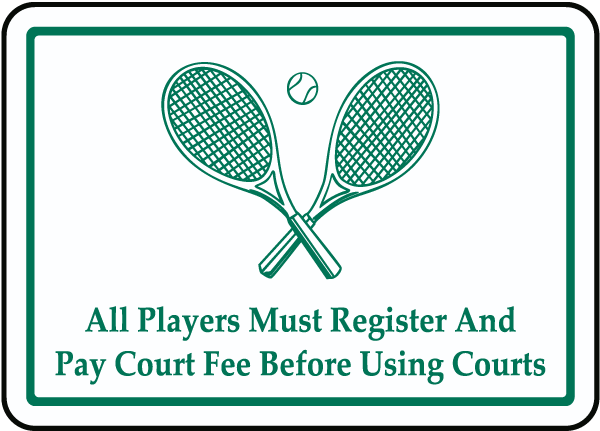 Register and Pay Court Fee Sign