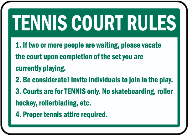 Tennis court rules sign f7747 by for 10 table tennis rules