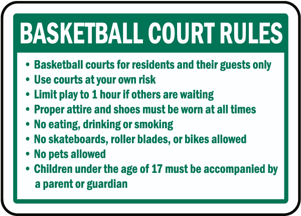 Basketball Court Rules Sign
