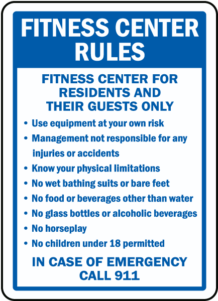 Fitness Center Rules Fitness Center For Residents And Their Guests Only sign