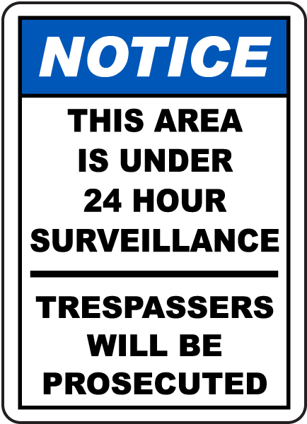 area under 24 hour tv surveillance sign by f7889. Black Bedroom Furniture Sets. Home Design Ideas