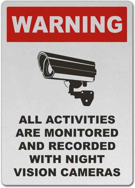 Monitored By Night Vision Camera Sign