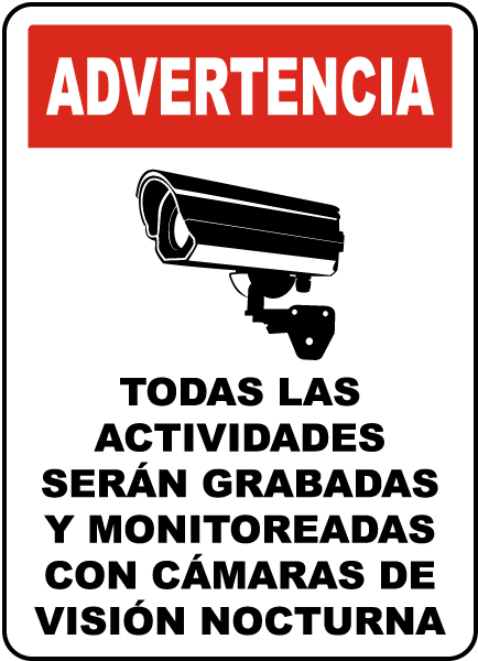 Spanish Monitored By Night Vision Camera Sign