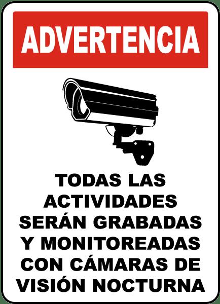 Spanish Monitored By Night Vision Camera Sign