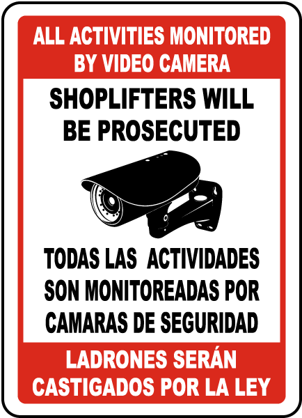Bilingual All Activities Monitored By Video Camera Sign