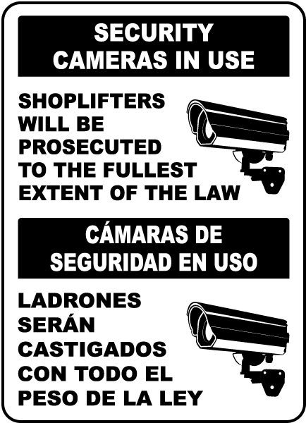 Bilingual Security Cameras In Use Sign