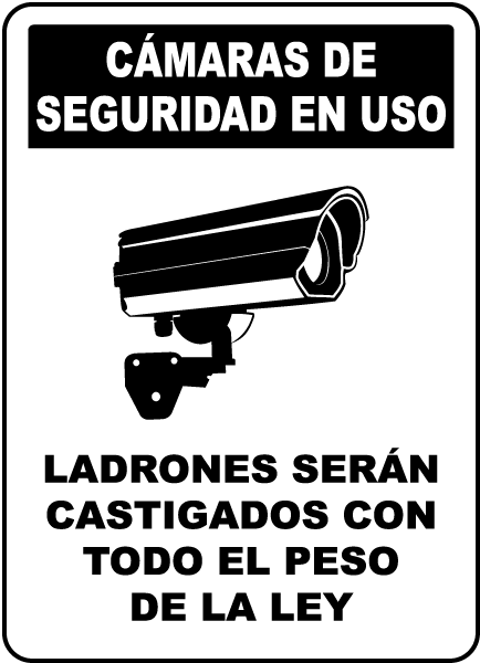 Spanish Security Cameras In Use Sign