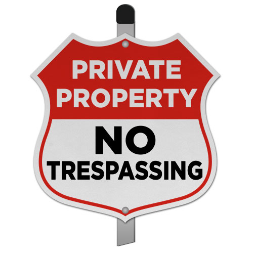 Private Property No Trespassing Yard Sign