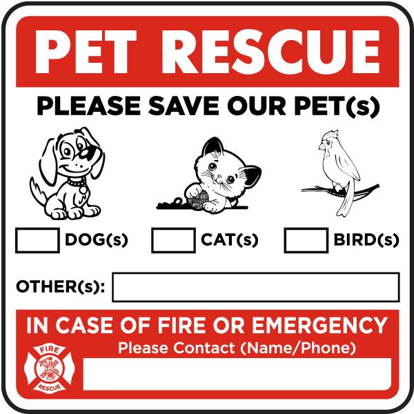 Pet Rescue, Dog, Cat, Bird, Other. Please Save Our Pets Sticker