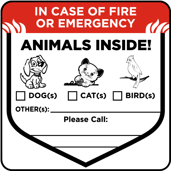 In Case of Fire Animals Inside Sticker