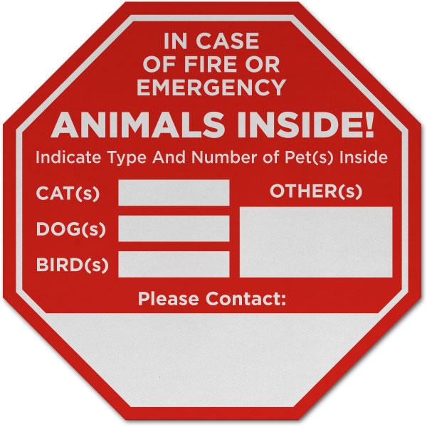 In Case of Fire Animals Inside Sticker