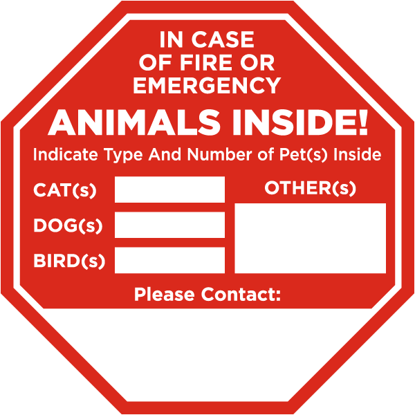 In Case of Fire or Emergency Animals Inside. Dogs, Cats, Birds, Others. Please Call Sticker