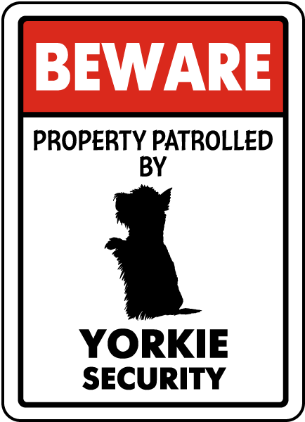 Beware Property Patrolled By Yorkie Security Sign