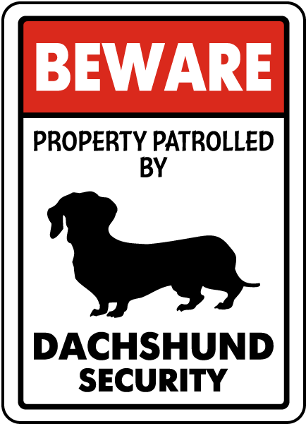 Beware Property Patrolled By Dachshund Security Sign