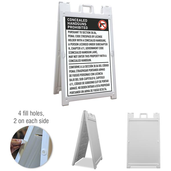 Texas 30.06 Bilingual No Concealed Carry Sandwich Board Sign
