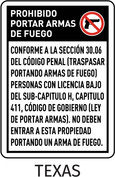 Spanish Texas 30.06 No Concealed Handguns Sign
