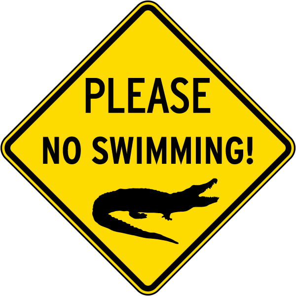 Please No Swimming Sign