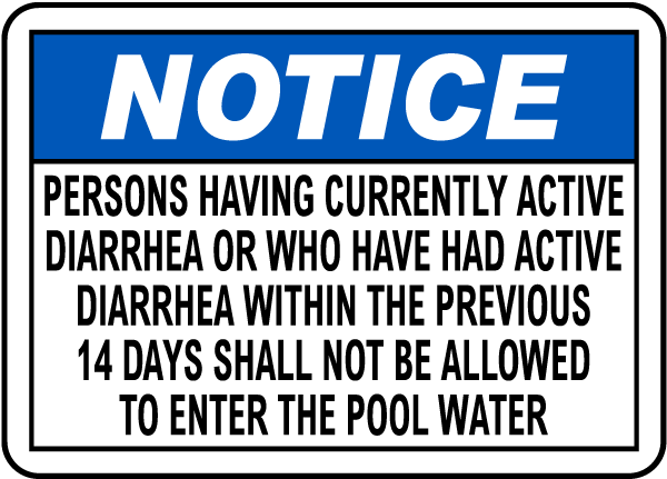 California Diarrhea Pool Sign
