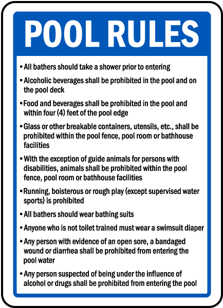 Delaware Pool Rules Sign